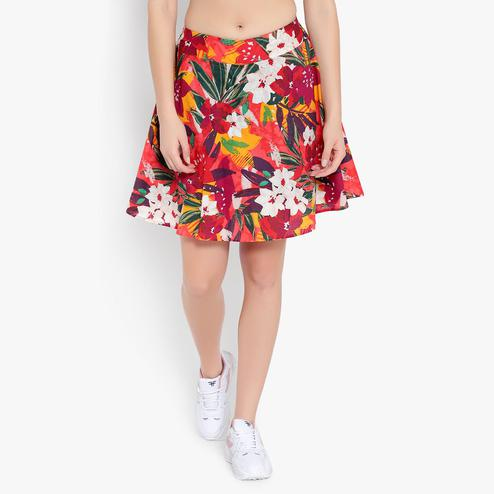 Ayaany - Women Red Printed Floral Cotton Lined Short Skirt