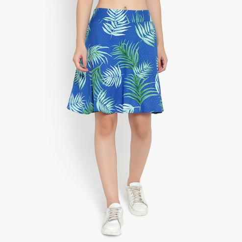 Ayaany - Women Blue Printed Floral Cotton Lined Short Skirt