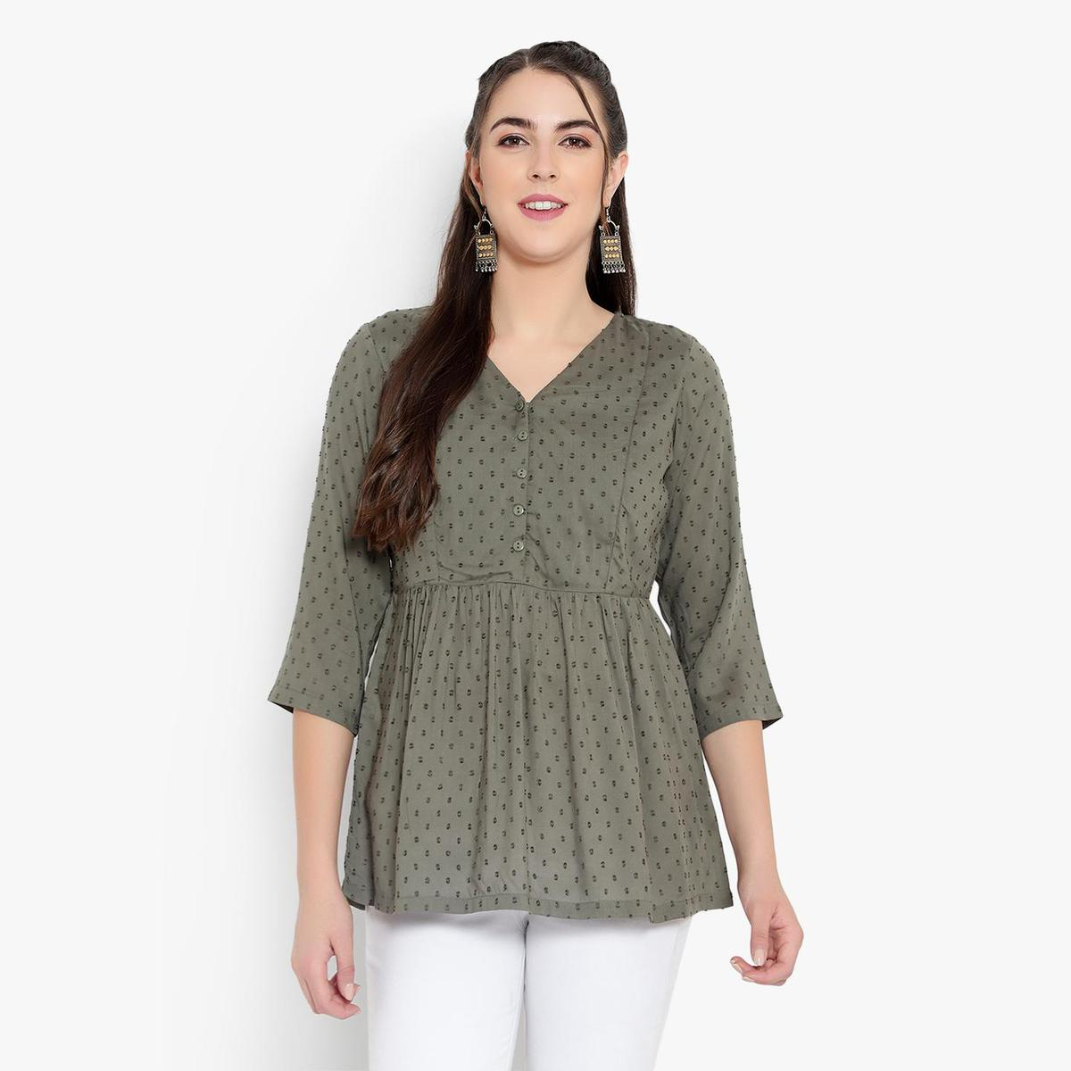 Ayaany - Women Olive Cotton Casual Tunic