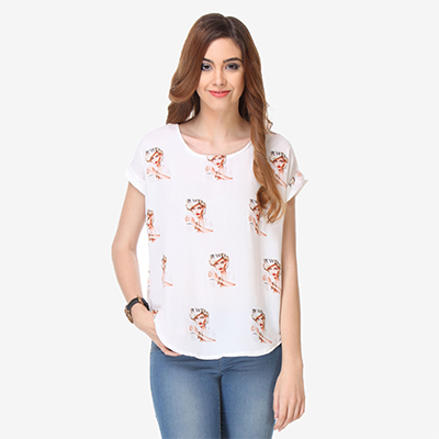 Off White Colored  Cotton Printed Top