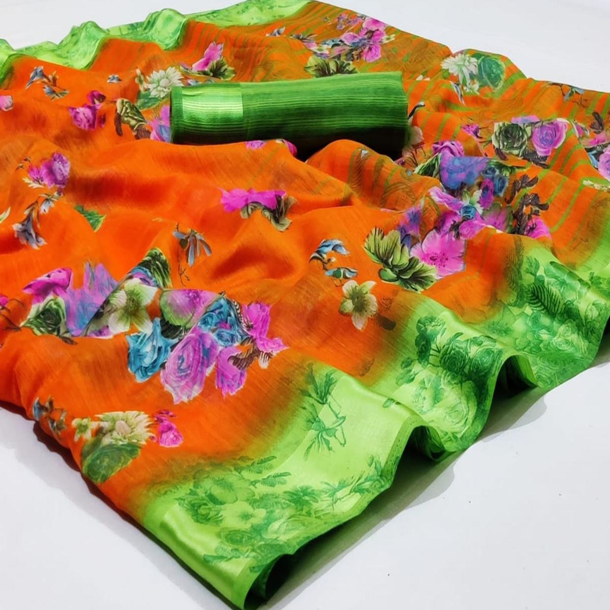 Refreshing Orange Colored Casual Wear Fancy Printed Linen Saree
