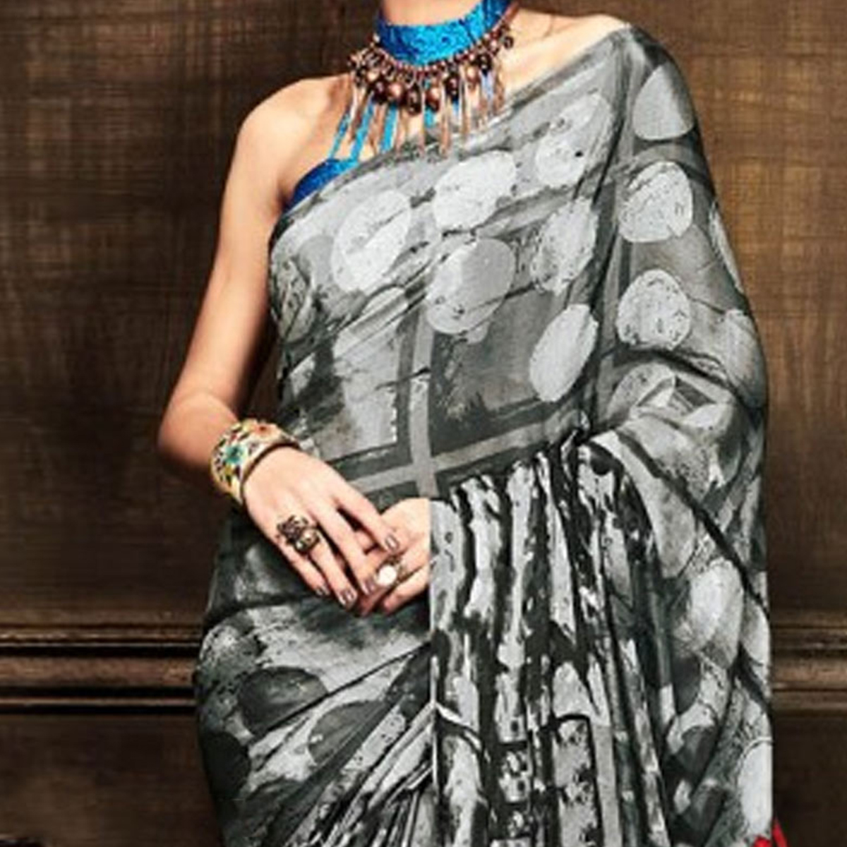 Grey Saree with Multicolored Pallu