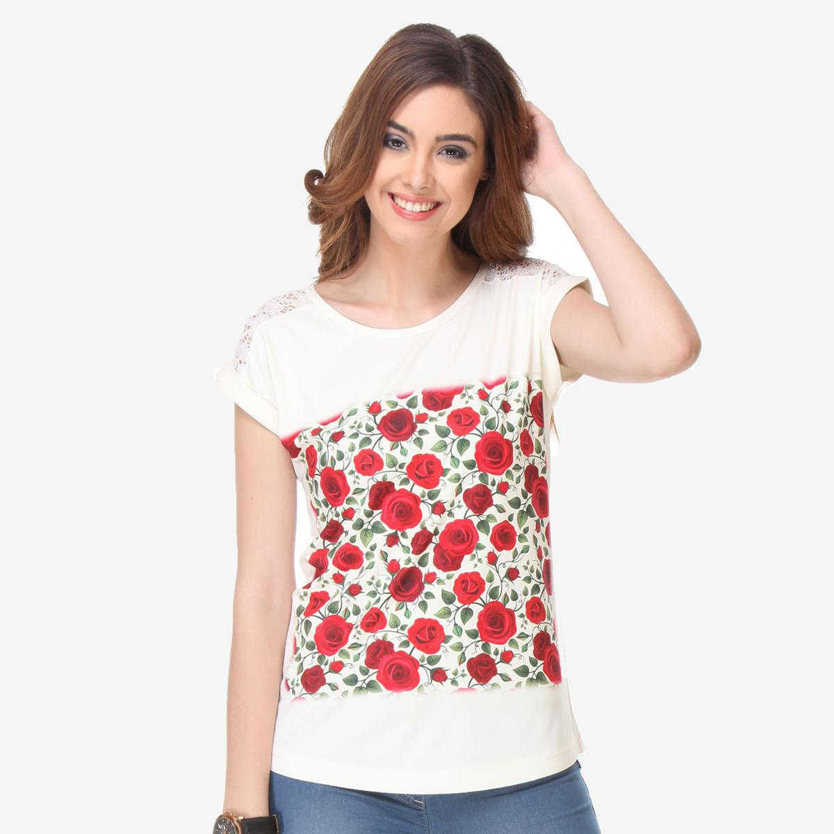 White Colored Cotton Floral Printed Top
