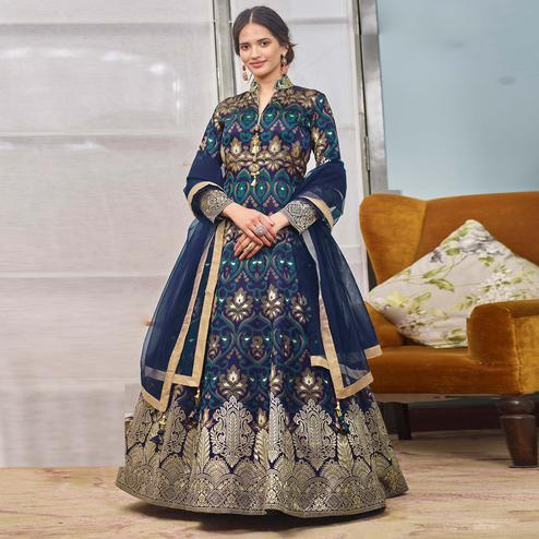 Graceful Multicolor Partywear Designer Handwork Jacquard Anarkali Suit