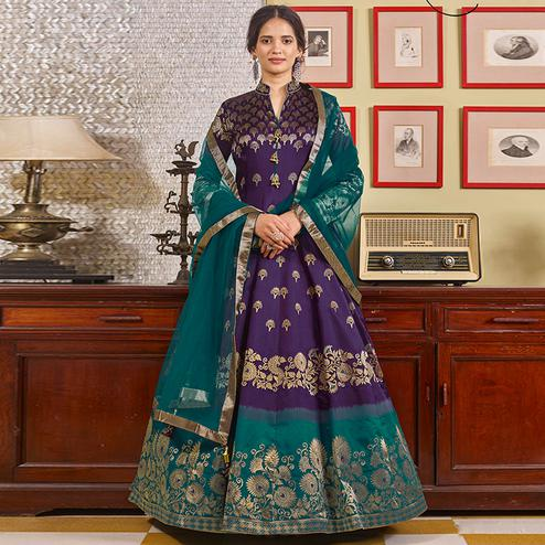 Pleasant Purple Partywear Designer Handwork Jacquard Anarkali Suit