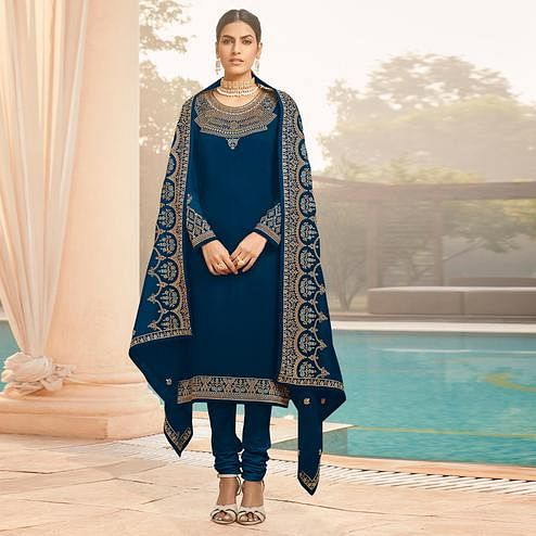 Desirable Rama Blue Coloured Party Wear Embroidered Stone Work Faux Georgette Salwar Suit