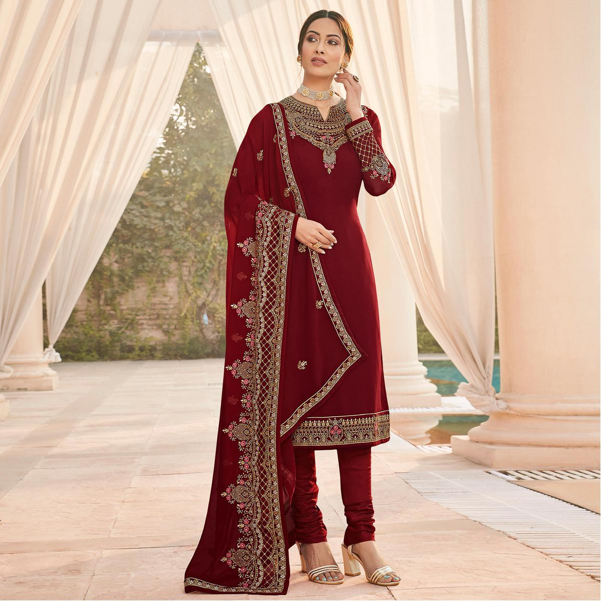 Exotic Maroon Coloured Party Wear Embroidered Stone Work Faux Georgette Salwar Suit