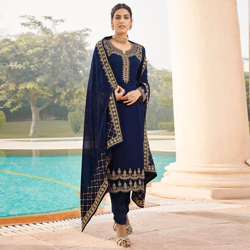 Trendy Blue Coloured Party Wear Embroidered Stone Work Faux Georgette Salwar Suit