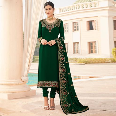 Pleasant Green Coloured Party Wear Embroidered Stone Work Faux Georgette Salwar Suit