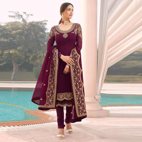 Mesmeric Wine Coloured Party Wear Embroidered Stone Work Faux Georgette Salwar Suit