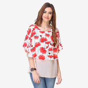 Cream Colored Cotton Floral Printed Top