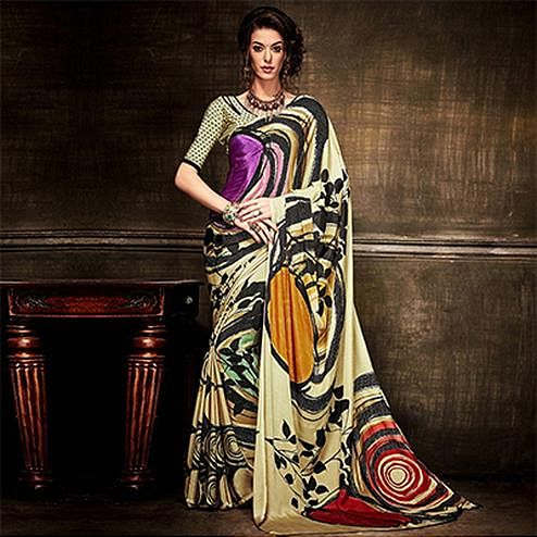 Beige Digital Print Fancy Saree