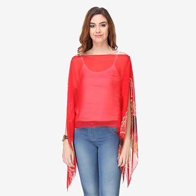 Red Colored Cotton Printed Top