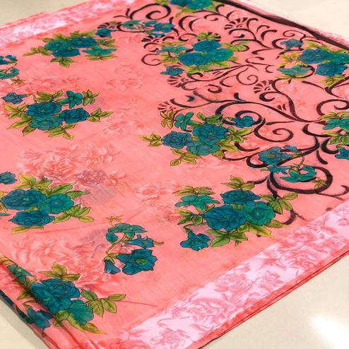 Exclusive Peach Colored Casual Wear Floral Printed Linen Saree