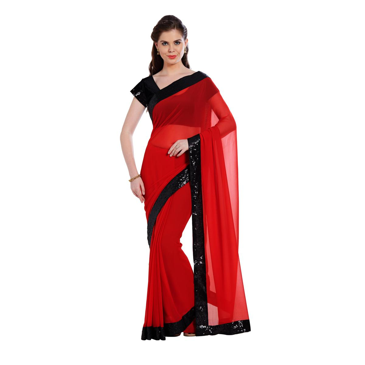 Arresting Red Colored Partywear Georgette Saree