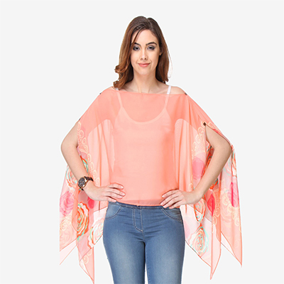 Peach Colored Cotton Printed Top