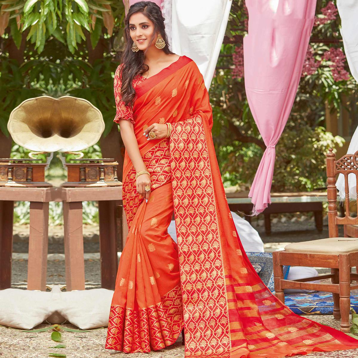 Magnetic Orange Coloured Casual Wear Embroidered Crystal Silk Saree