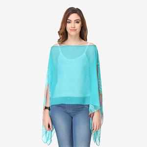 Aqua Blue Colored Cotton Printed Top
