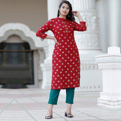PINK CITY FABRICS - Red Colored Casual Rayon Kurti Pant Set