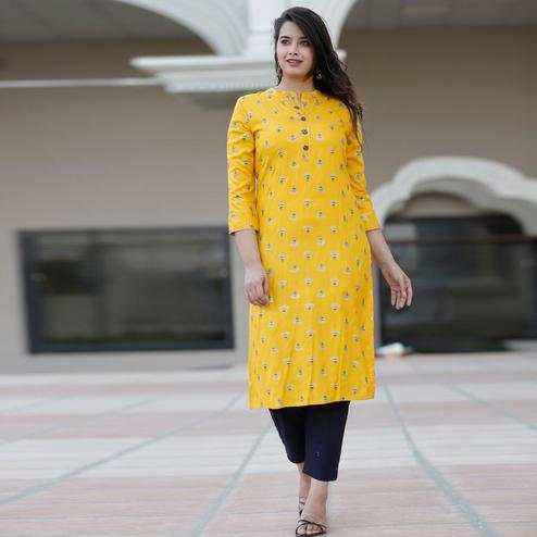 PINK CITY FABRICS - Yellow Colored Casual Rayon Kurti Pant Set