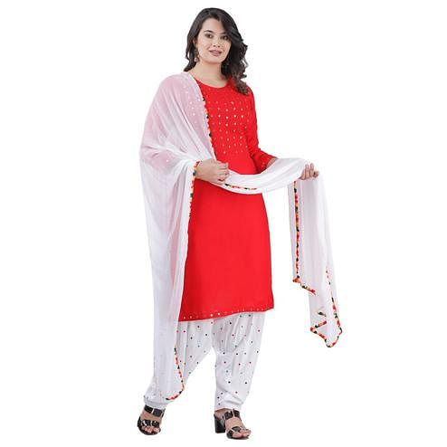 PINK CITY FABRICS - Red Colored Casual Rayon Kurti Patiyala Set With Dupatta