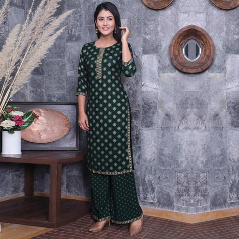 PINK CITY FABRICS - Green Colored Casual Rayon Kurti Pant Set