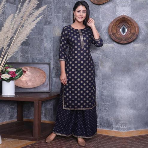 PINK CITY FABRICS - Navy Blue Colored Casual Rayon Kurti Pant Set
