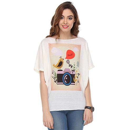 Off White Colored Cotton Digital Printed Top