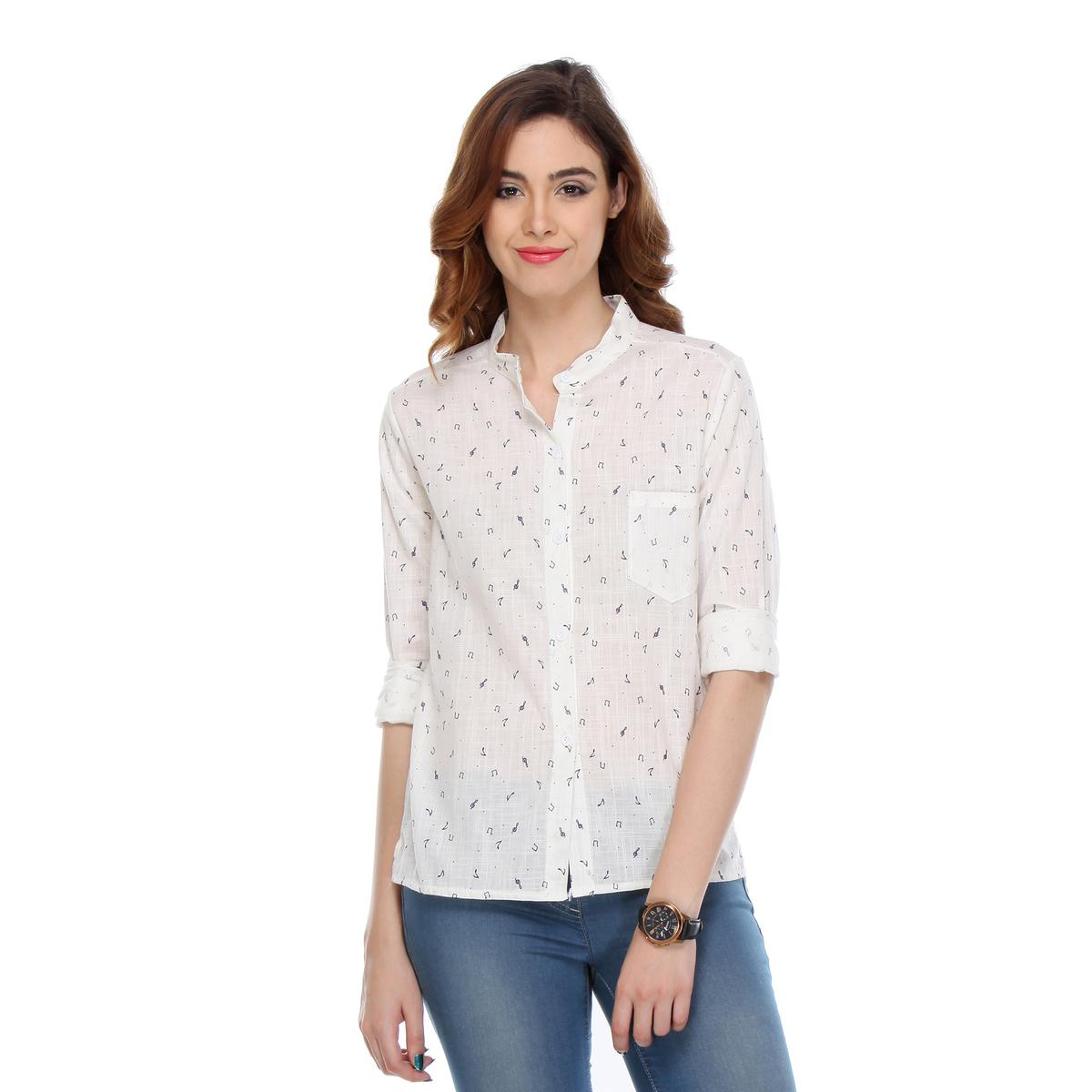 White Colored Cotton Printed Shirt