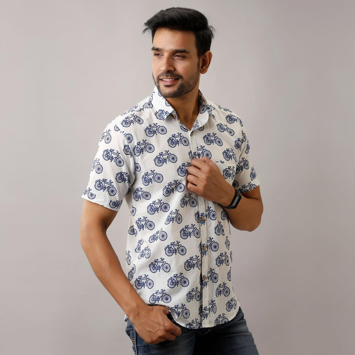 Zyla - White Colored Cycle Print Cotton Half Sleeves Shirt
