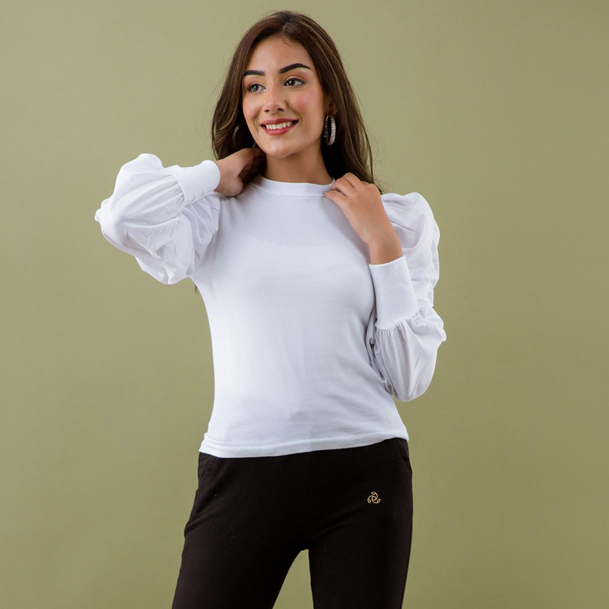 Zyla - White Colored Puff Sleeves High Neck Lycra Top