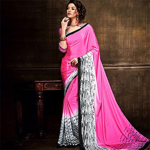 Pink Silk Crepe Digital Print Saree