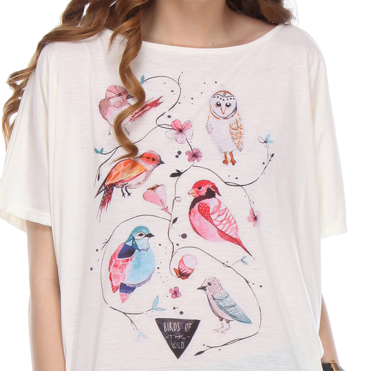 Off White Bird Printed Casual Cotton Top