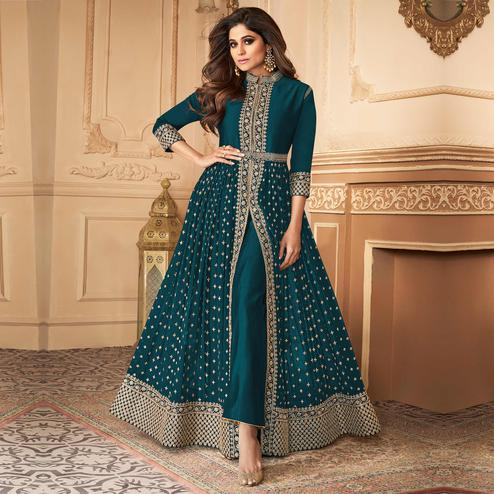 Capricious Green Coloured Partywear Embroidered Georgette Straight Anarkali Suit