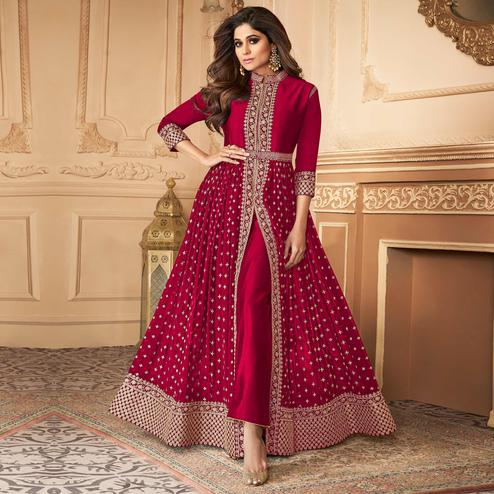 Groovy Pink Coloured Partywear Embroidered Georgette Straight Anarkali Suit