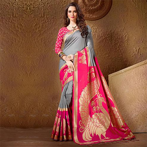 Beautiful Gray - Pink Festive Wear Kanjeevaram Silk Saree