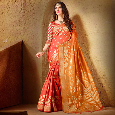 Adorable Orange Festive Wear Kanjeevaram Silk Saree