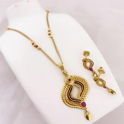 Viha - Copper Gold Plated Jewellery Set For Women And Girl