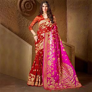 Glorious Red - Pink Festive Wear Kanjeevaram Silk Saree