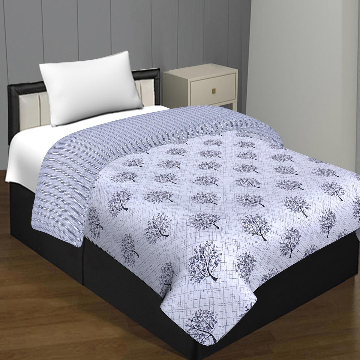 Ideal Pure Cotton Off White Coloured Spring Tree Grey Reversible Single Bed Blanket/ Duvet/Quilt/AC Dohar