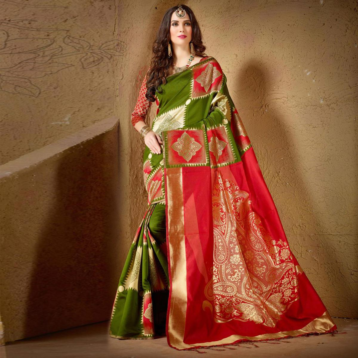 Pretty Green Festive Wear Kanjeevaram Silk Saree