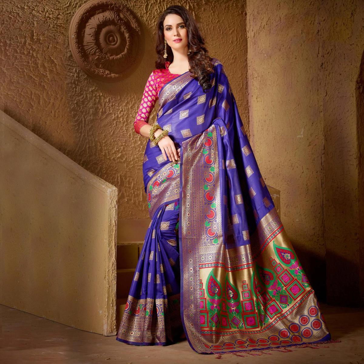 Charming Blue Festive Wear Kanjeevaram Silk Saree