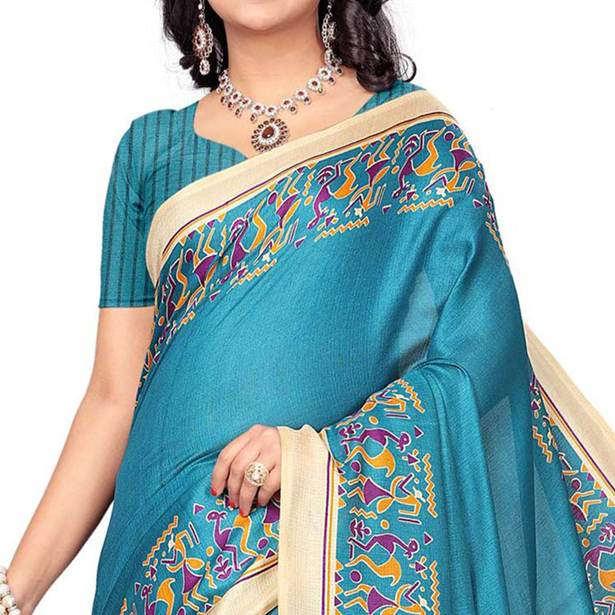 Turquoise Blue Casual Printed Khadi Silk Saree With Tassels