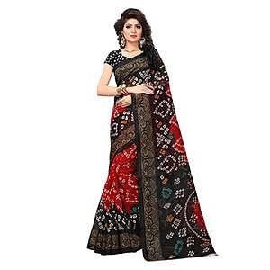 Stunning Red-Black Colored Printed Festive Wear Bhagalpuri Silk Saree