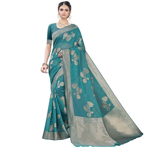 Engrossing Turquoise Green Colored Festive Wear Woven Banarasi Cotton Saree