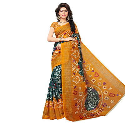 Graceful Green-Yellow Colored Printed Festive Wear Bhagalpuri Silk Saree