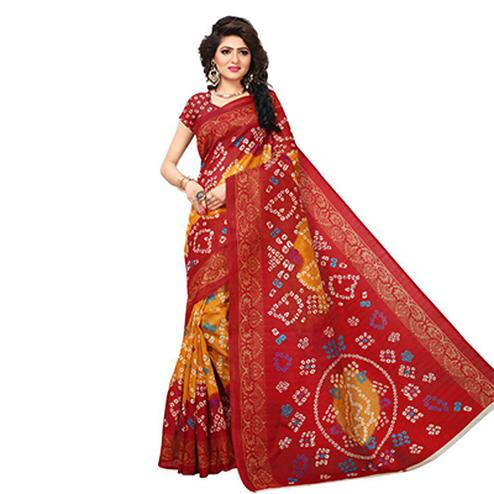Ravishing Yellow-Red Colored Printed Festive Wear Bhagalpuri Silk Saree