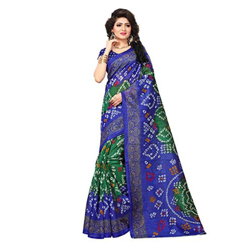 Charming Green-Blue Colored Printed Festive Wear Bhagalpuri Silk Saree