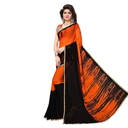 Flamboyant Orange-Black Colored Casual Wear Printed Chiffon Saree