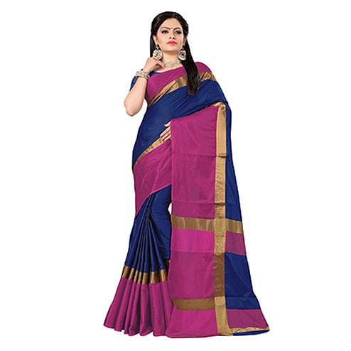 Beautiful Blue-Pink Colored Festive Wear Art Silk Saree